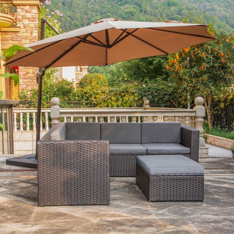 Belmount 6 Seater Wicker Resin Rattan Patio Sectional Set w Cushions