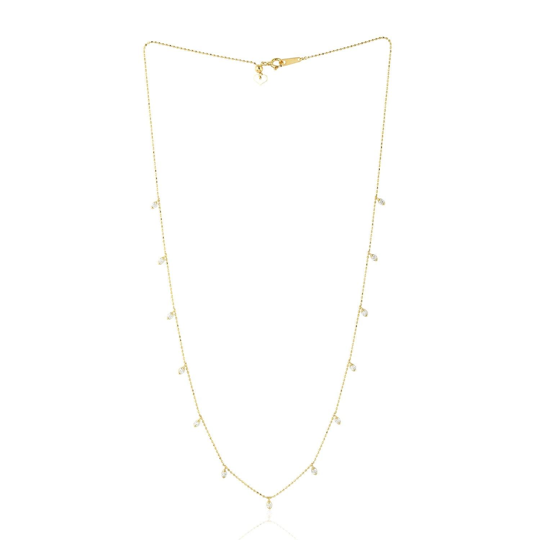 HN Jewels Princess /& Round 0.79 Ctw CZ Diamonds Double Frame Pendant 18 Chain 14K White Gold Plated
