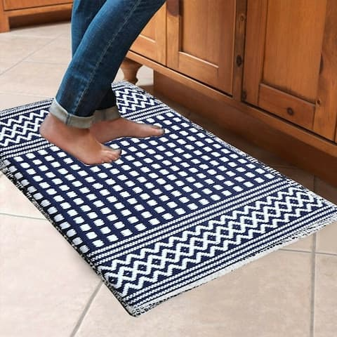 "Cotton Hand Woven Floor/ Kitchen Mat 18"" x 30"" With Foam Backing - 18x30"