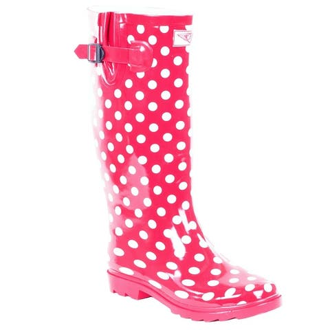 Forever Young Women's Polka-Dot Print Rubber Rain Boots