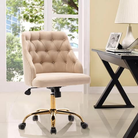 Fabric Home Office Chair With Gold Plated feet And Adjustable Height