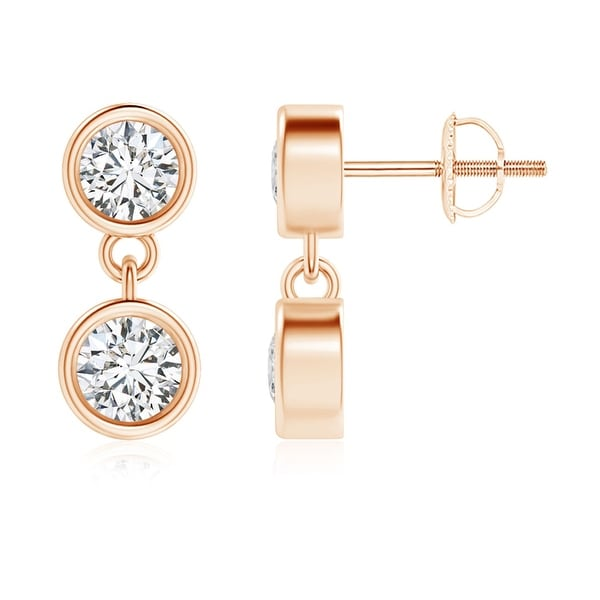 Angara Rose Gold Diamond Dangling Earrings kf2mACVm
