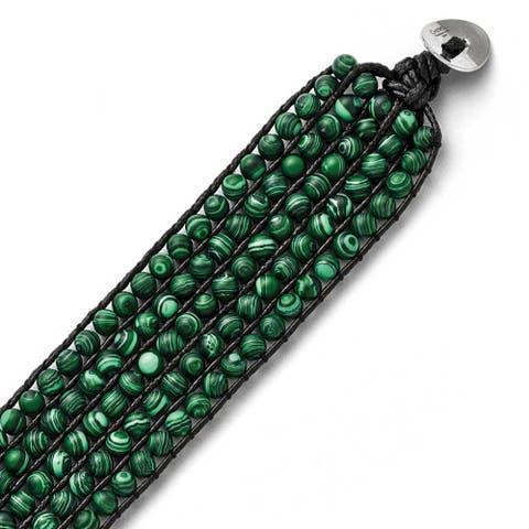 Chisel Stainless Steel Black Cord Woven Imitation Malachite Bracelet