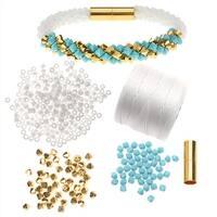 Refill - Deluxe Beaded Kumihimo Bracelet (Turq/Gold) - Exclusive Beadaholique Jewelry Kit
