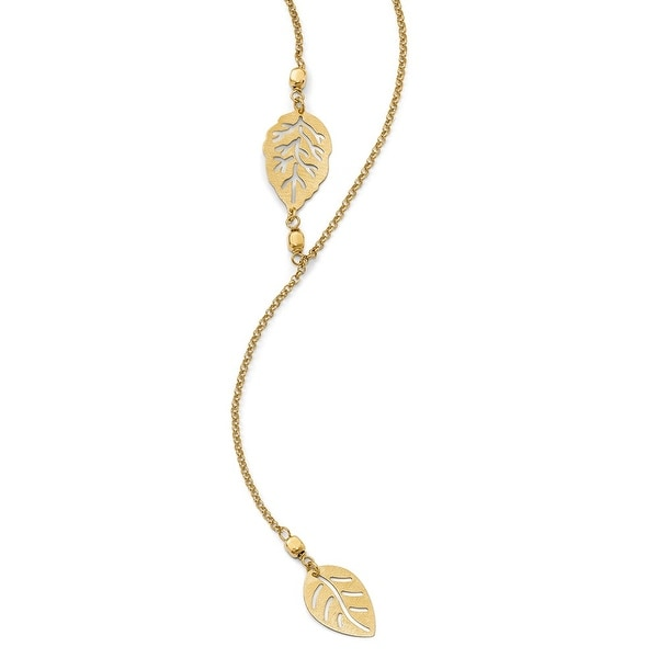 Italian Sterling Silver Gold-tone Leaf with 1.5 in ext. Necklace - 17 inches