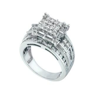 2 Ctw Diamond Invisible Ring White-Gold 14K