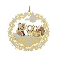 """2"""" Red and White 24K Gold Roof top Santa and Sleigh Christmas Ornament"""