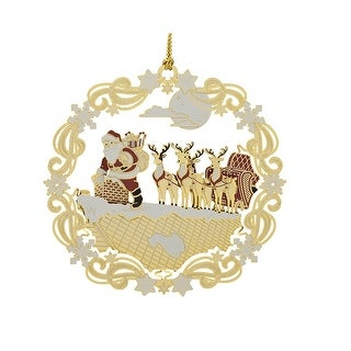 2 Red and White 24K Gold Roof top Santa and Sleigh Christmas Ornament