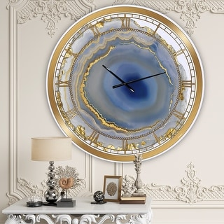 Link to Silver Orchid Arbuckle 'Golden Water Agate' Oversized Fashion Wall Clock Similar Items in Decorative Accessories
