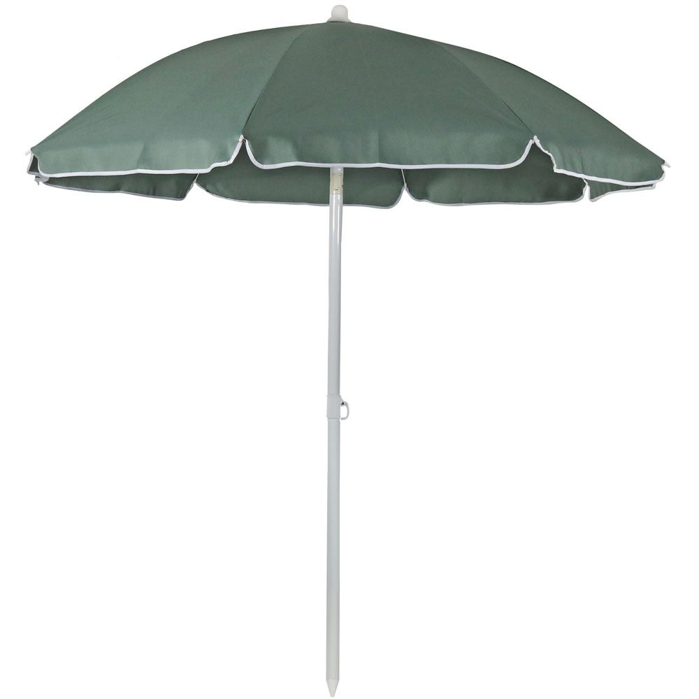 Sunnydaze Steel 5 Foot Beach Umbrella with Tilt Function, Color Options Available - Thumbnail 1
