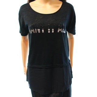 Guess NEW Black Women's Size XS Want It All Contrast 2-fer Blouse