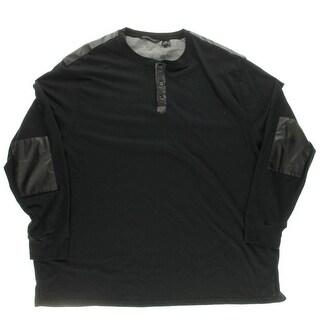 Sean John Mens Big & Tall Faux Leather Patchwork Long Sleeve Henley Shirt - 5xb