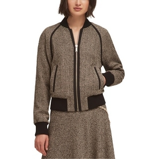 Link to DKNY Womens Tweed Bomber Jacket, brown, Medium Similar Items in Women's Outerwear
