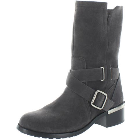 Vince Camuto Womens Wethima Motorcycle Boots Leather Mid-Calf
