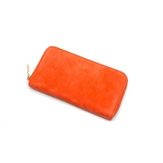 Balmain classic Gold Tone zip around suede wallet in coral orange