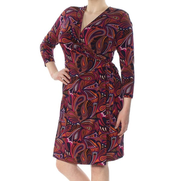 ANNE KLEIN Womens Purple Printed 3/4 Sleeve V Neck Above The Knee Faux Wrap Wear To Work Dress Size: 16