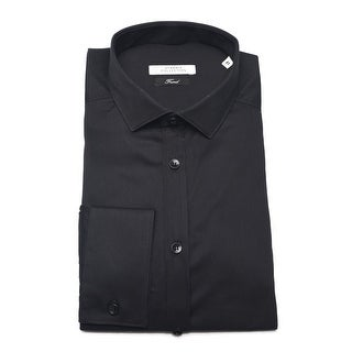 Versace Men Trend Cotton Dress Shirt Black