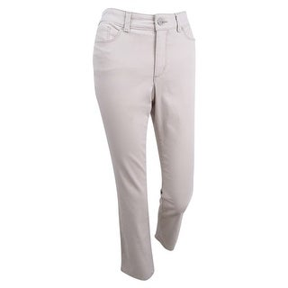 Charter Club Women's Petite Tummy Slimming Straight Jeans (4P, Creme Stone) - Creme Stone - 4P