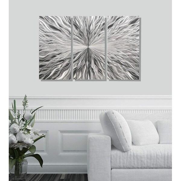 Statements2000 3D Metal Wall Art Sculpture Silver Modern Decor by Jon Allen - Vortex 3P