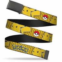 Blank Black  Buckle Pokemon Pikachu Pose Poke Ball Yellow Black Web Belt