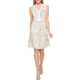 Tommy Hilfiger Womens Party Dress Floral Crochet Trim