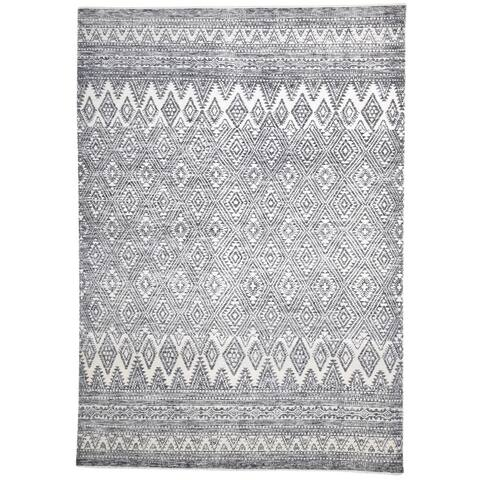 """One of a Kind Hand-Knotted Modern & Contemporary 9' x 12' Trellis Wool Grey Rug - 8'10""""x12'5"""""""