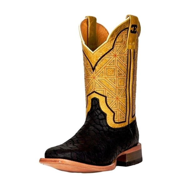 Cinch Western Boots Mens Edge Black Puzzle Cowboy Black