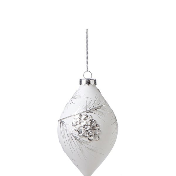 "5"" Winter Light White and Silver Glass Finial Christmas Ornament"