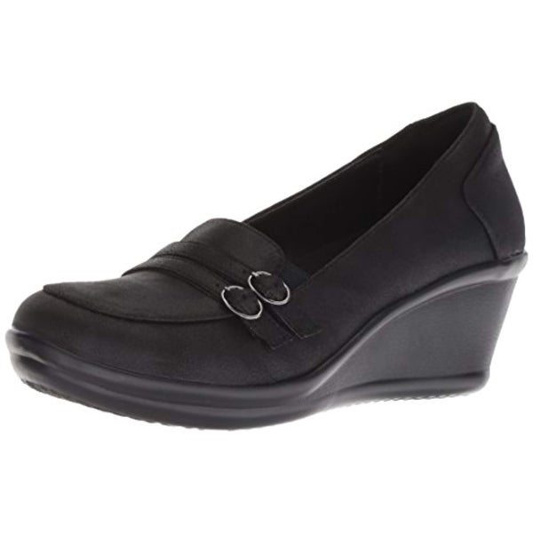Skechers Women's Rumblers Frilly Wedge Heeled Dressy Casual Double Buckle Loafer Pump, Black