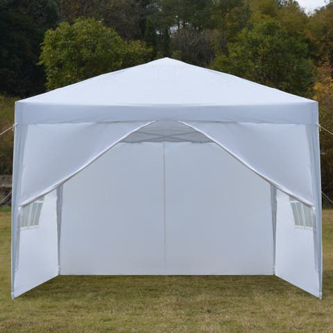 10 ft. Two Doors & Two Windows Folding Party Tent White