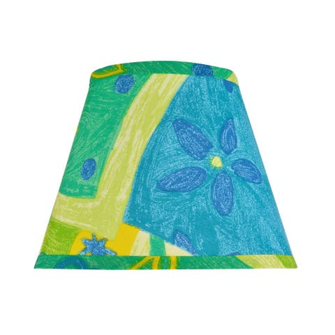 """Aspen Creative Hardback Empire Shape Spider Construction Lamp Shade with Blue, Yellow and Green Print (5"""" x 9"""" x 7"""")"""