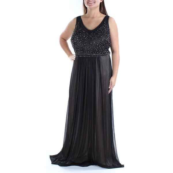 20e93e8e70 XSCAPE Womens Black Beaded Sleeveless V Neck Full Length Empire Waist  Formal Dress Plus Size: 18