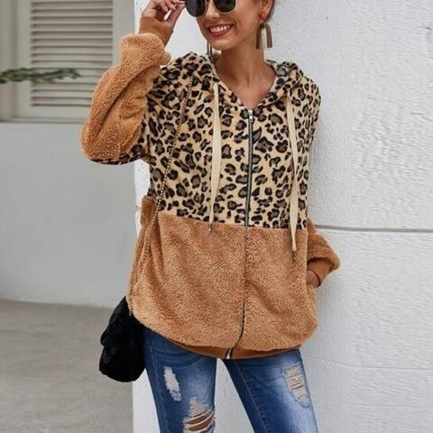 Leopard Sherpa Zip Sweater