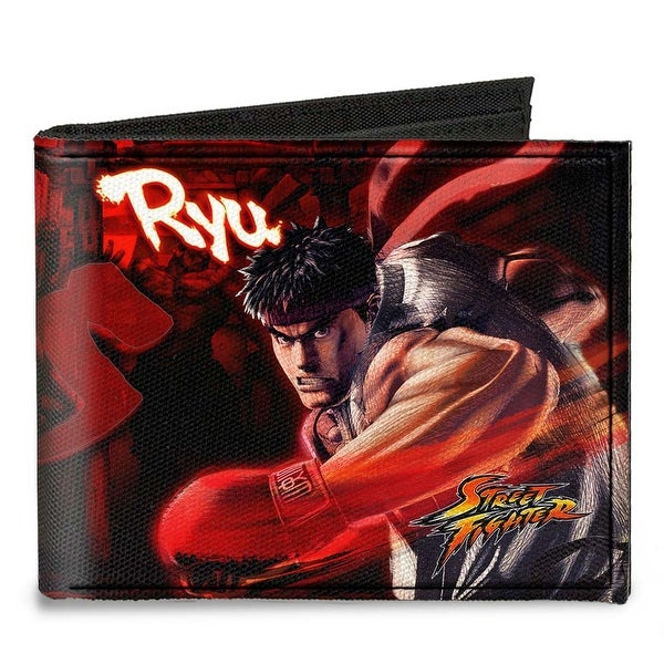 Street Fighter Ryu Vs. Akuma Action Poses Reds Black Canvas Bi Fold Wallet One Size - One Size Fits most