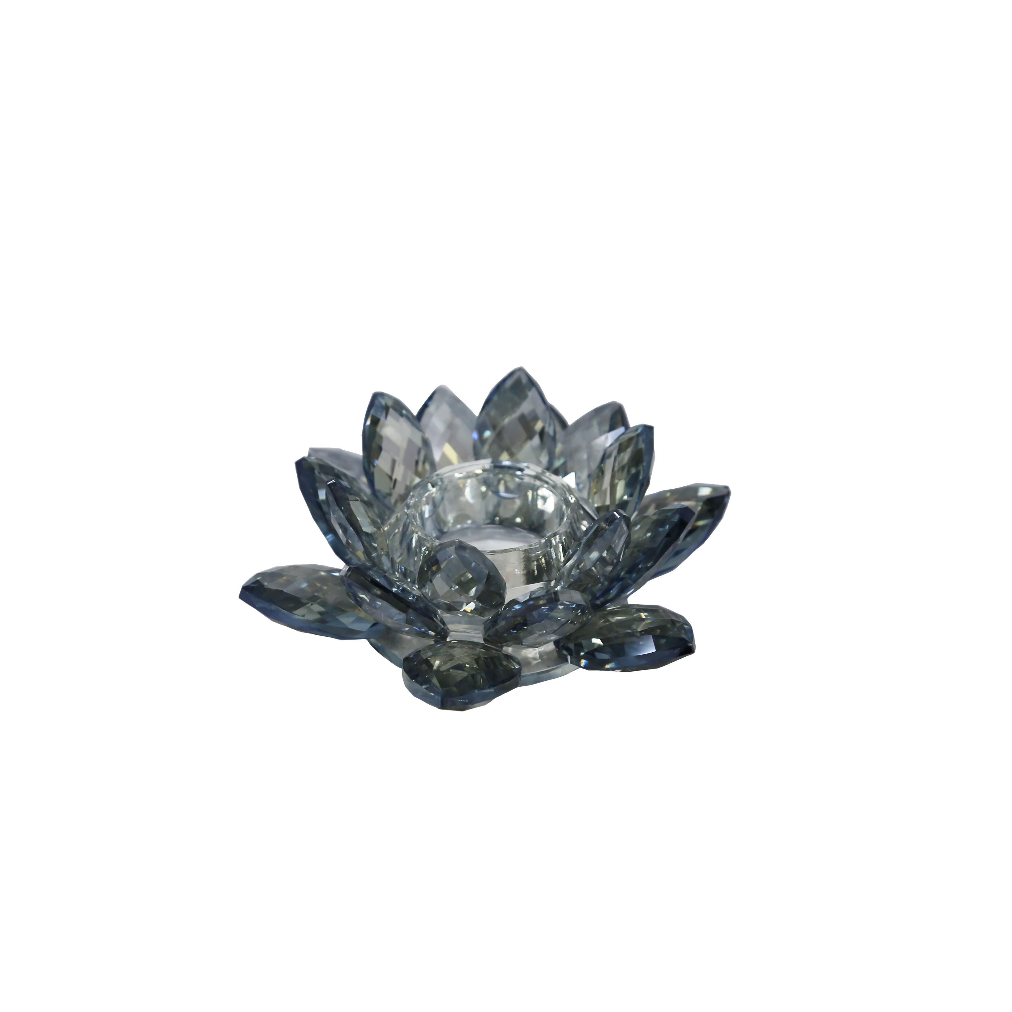 Decorative Crystal Lotus Votive Candle Holder, Blue