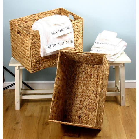 """Large Wicker Seagrass Baskets Hampers Set of 2 Cut Out Handles - 21""""w x 14.5"""" x 14""""h"""