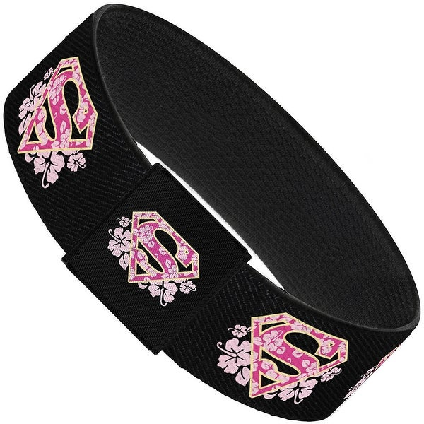 Super Shield Hibiscus Design Black Pink Elastic Bracelet