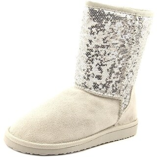 Soda Bling Women Round Toe Synthetic Silver Winter Boot