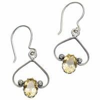 """Women's Sunstone Earrings - Sterling Silver - .75"""""""