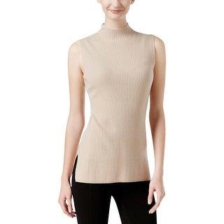 Calvin Klein Womens Mock Turtleneck Sweater Ribbed Knit Sleeveless
