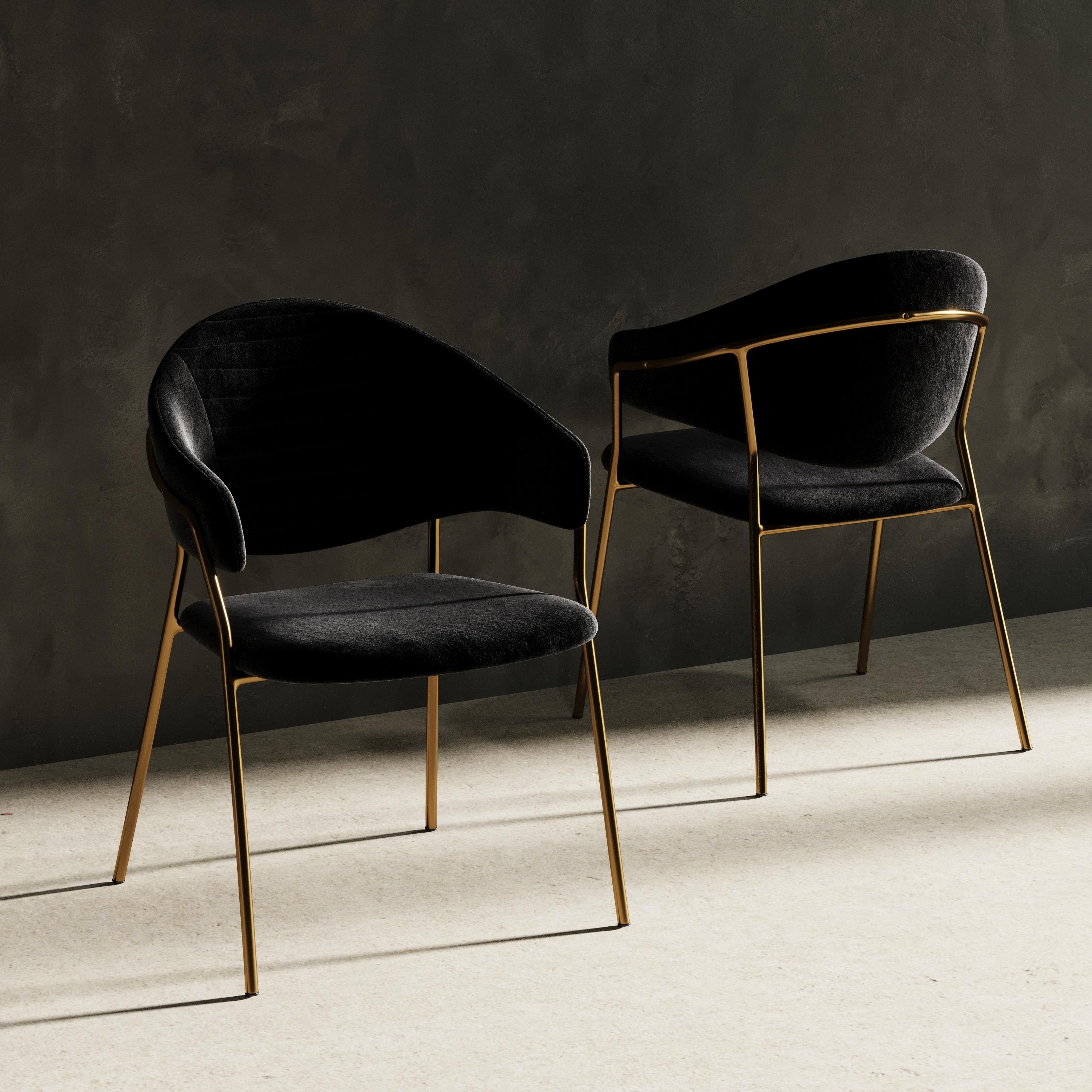 Modrest Trevor Modern Black Velvet Gold Dining Chair Set Of 2 Overstock 28913075