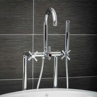 Pelham & White Luxury Tub Filler Faucet, Modern Design, Floor Mount Installation, Cross Handles, Polished Chrome Finish