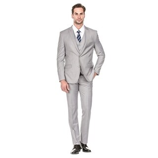 Porto Filo 3 Pcs Silver Slim-Fit Men's Suit (Jacket+ Pant+Vest)