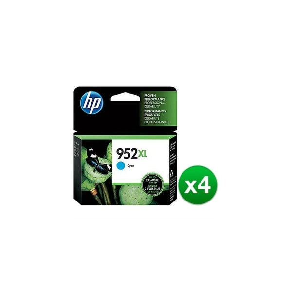 HP 952XL High Yield Cyan Original Ink Cartridge (L0S61AN)(4-Pack)
