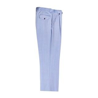 Light Blue Herringbone Wide Leg Dress Pants Pure Wool by Tiglio Luxe