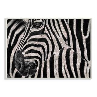 Stupell Industries Glitter Zebra Glam Fashion Animal Design Wood Wall Art