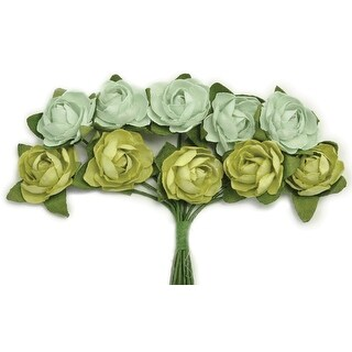 "Mini Paper Blooms .5"" Flowers W/Wire Stems 10/Pkg-Olive - Green"