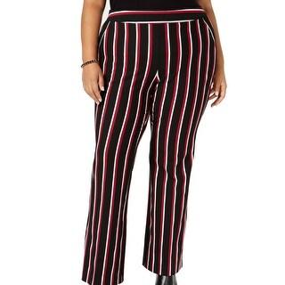 INC Womens Pants Black Size 20W Plus Boot Leg Mid-Rise Striped Stretch