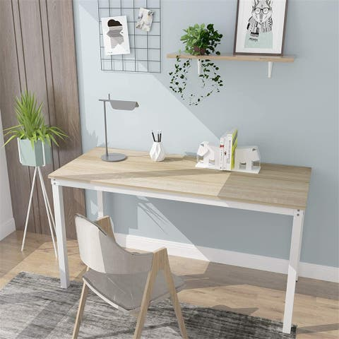 Computer Desk Home Office Wood and Metal, Sturdy Writing Workstation for Home Office (39.37, Beige + White Frame)