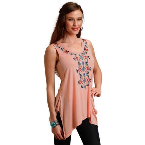 Roper Western Shirt Womens Sleeveless Tunic Orange